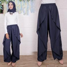 Flavia Store Celana Panjang Wanita FS0731 - NAVY BIRU DONGKER / Kulot Joger Muslim Aladin / Bawahan Muslimah / Tztiara
