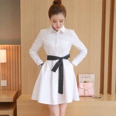 Flavia Store Dress Lengan Panjang FS0084 - PUTIH / Gaun Kerja Wanita Formal / Baju Santai Kasual / Terusan Polos / Rnviana