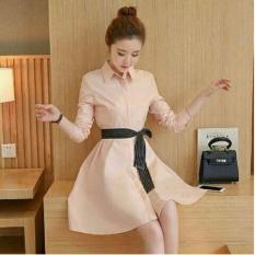 Flavia Store Dress Lengan Panjang FS0218 - PEACH / Gaun Kerja Wanita Formal / Baju Santai Kasual / Terusan Polos / Rnviana