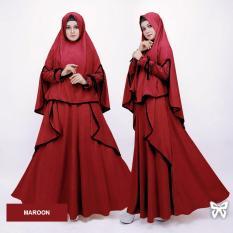 Obral Flavia Store Gamis Syari Set 2 In 1 Fs0718 Merah Marun Baju Muslim Wanita Syar I Gaun Muslimah Maxi Dress Lengan Panjang Hijab Srsabiya Murah