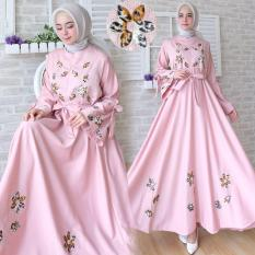 Flavia Store Gamis Syari Busui Motif Bunga FS0749 - PINK / Baju Muslim Wanita Syar'i / Gaun Pesta Muslimah / Maxi Dress Lengan Panjang / Nimaxiflower