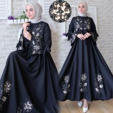Flavia Store Gamis Syari Busui Motif Bunga FS0751 - HITAM / Baju Muslim Wanita Syar'i / Gaun Pesta Muslimah / Maxi Dress Lengan Panjang / Nimaxiflower