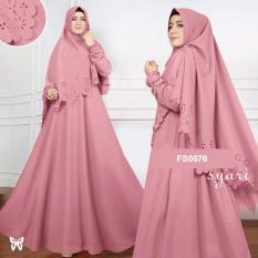 Flavia Store Gamis Syari Set 2 in 1 Laser FS0676 - DUSTY PINK / Baju Muslim Wanita Syar'i / Gaun Pesta Muslimah / Maxi Dress Lengan Panjang / Hijab / Srzada