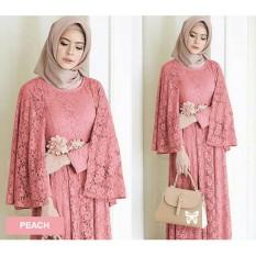 Flavia Store Maxi Dress Lengan Panjang FS0772 - PEACH / Gamis / Gaun Pesta Muslimah / Baju Muslim Wanita / Srregina