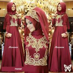 Flavia Store Maxi Dress Lengan Panjang Set 2 in 1 FS0587 - MAROON / Gamis / Gaun Pesta Muslimah / Baju Muslim Wanita / Hijab / Srprincess