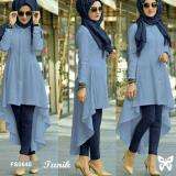Beli Flavia Store Kemeja Tunik Wanita Lengan Panjang Fs0648 Biru Atasan Muslimah Baju Muslim Blouse Terusan Gamis Srisadora Cicil