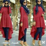 Jual Flavia Store Kemeja Tunik Wanita Lengan Panjang Fs0651 Merah Atasan Muslimah Baju Muslim Blouse Terusan Gamis Srisadora Dki Jakarta Murah