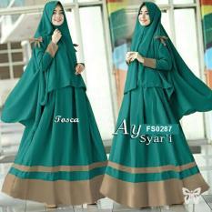 Flavia Store Gamis Syari Set 2 in 1 FS0287 - HIJAU TOSCA / Baju Muslim Wanita Syar'i / Gaun Muslimah / Maxi Dress Lengan Panjang / Hijab / Srayra