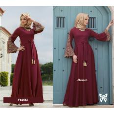 ... HITAM / Baju Muslim Wanita. Source · Flavia Store Maxi Dress Lengan Panjang Bordir FS0553 - MERAH MARUN / Gamis Syari / Gaun