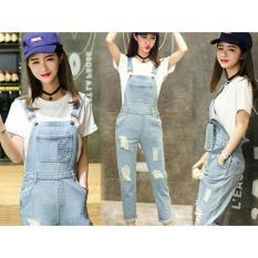 Flavia Store Overall Jeans Wanita Ripped FS0578 - BIRU MUDA / Celana Jumpsuit / Baju Kodok / Jamsuit / Rnjanetz