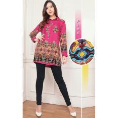 Flavia Store Kemeja Tunik Wanita Lengan Panjang Batik FS0096 - PINK / Blouse Kerja Formal / Baju Santai Kasual / Atasan Muslimah / Terusan / Tztuniklinda