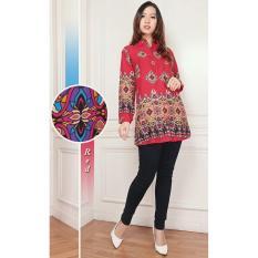 Jual Flavia Store Kemeja Tunik Wanita Lengan Panjang Batik Fs0098 Merah Blouse Kerja Formal Baju Santai Kasual Atasan Muslimah Terusan Tztuniklinda Batik Original