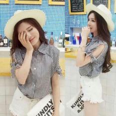 Flavia Store Kemeja Wanita Lengan Pendek Pundak Bolong Kotak FS0024 - HITAM / Baju Bahu Sabrina