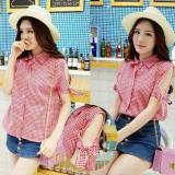 Flavia Store Kemeja Wanita Lengan Pendek Pundak Bolong Kotak FS0024 - HITAM / Baju Bahu Sabrina / Atasan / Rnvarina   Lazada Indonesia