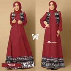Flavia Store Maxi Dress Lengan Panjang Set 3 in 1 Batik Tribal  FS0634 - MERAH MARUN / Gamis Syari / Gaun Pesta Muslimah / Baju Muslim Wanita Syar'i / Hijab / Srmaureen