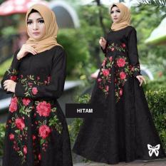 Flavia Store Maxi Dress Lengan Panjang Bordir Bunga FS0135 - HITAM / Gamis Syari / Gaun Pesta Muslimah / Baju Muslim Wanita Syar'i / Srayana