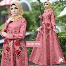 Flavia Store Maxi Dress Lengan Panjang Bordir Bunga FS0137 - DUSTY PINK / Gamis Syari / Gaun Pesta Muslimah / Baju Muslim Wanita Syar'i / Srayana
