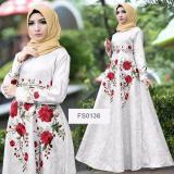 Review Terbaik Flavia Store Maxi Dress Lengan Panjang Bordir Bunga Fs0737 Putih Gamis Syari Gaun Pesta Muslimah Baju Muslim Wanita Syar I Srayana