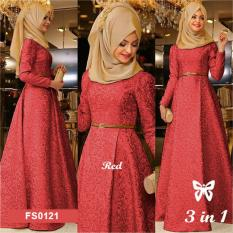 Flavia Store Maxi Dress Lengan Panjang Set 3 in 1 FS0121 - MERAH MARUN / Gamis Syari / Gaun Pesta Muslimah / Baju Muslim Wanita Syar'i / Hijab / Srzamirah