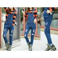 Spek Flavia Store Overall Jeans Wanita Ripped Fs0463 Biru Tua Celana Jumpsuit Baju Kodok Jamsuit Rnjanetz Dki Jakarta