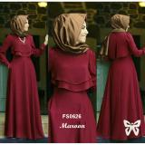 Jual Flavia Store Maxi Dress Set 2 In 1 Fs0626 Merah Marun Gamis Syari Gaun Pesta Muslimah Baju Muslim Wanita Syar I Srdahlia Branded Murah