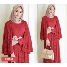 Flavia Store Maxi Dress Lengan Panjang FS0641 - MERAH MARUN / Gamis Syari / Gaun Pesta Muslimah / Baju Muslim Wanita Syar'i / Srregina