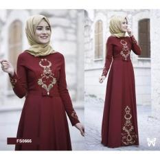 Flavia Store Maxi Dress Lengan Panjang Bordir FS0666 - MERAH MARUN / Gamis Syari / Gaun