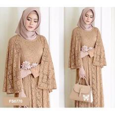 Flavia Store Maxi Dress Lengan Panjang FS0770 - COKLAT MOCCA / Gamis Syari / Gaun Pesta Muslimah / Baju Muslim Wanita Syar'i / Srregina