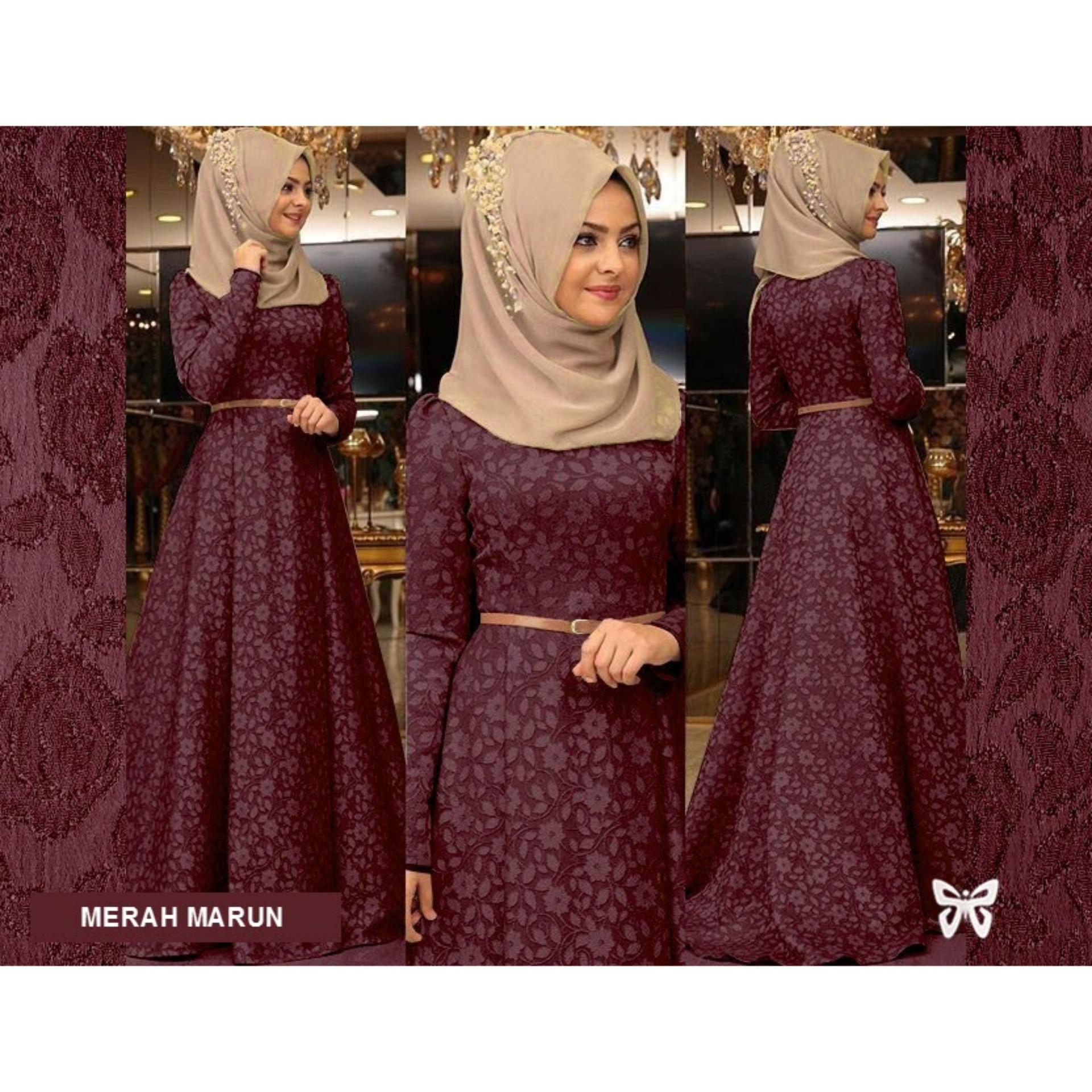 Flavia Store Maxi Dress Lengan Panjang Set 2 in 1 FS0075 - MERAH MARUN / Gamis
