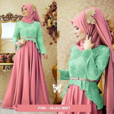 Flavia Store Maxi Dress Lengan Panjang Set 2 in 1 FS0369 - PINK HIJAU MINT / Gamis Syari / Gaun Pesta Muslimah / Baju Muslim Wanita Syar'i / Hijab / Sryolanda