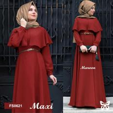 Flavia Store Maxi Dress Lengan Panjang Set 2 in 1 FS0621 - MERAH MARUN / Gamis Syari / Gaun Pesta Muslimah / Baju Muslim Wanita Syar'i / Hijab / Srclara