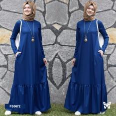Flavia Store Maxi Dress Lengan Panjang Set 2 in 1 FS0672 - BIRU / Gamis / Gaun Pesta Muslimah / Baju Muslim Wanita / Hijab / Srzahwa