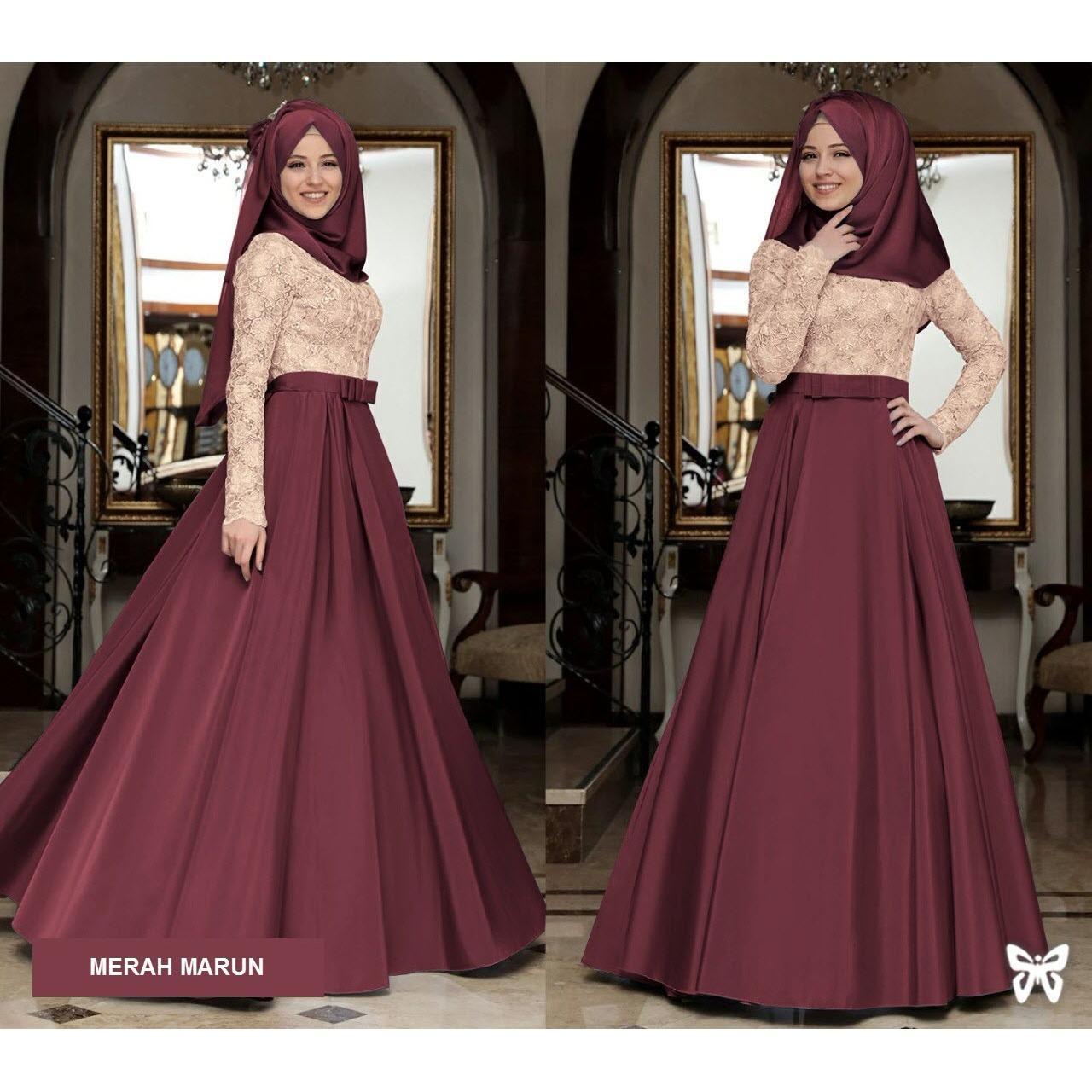 Ritsleting belakang Flavia Store Maxi Dress Lengan Panjang Set 2 in 1 FS0767 - MERAH MARUN / Gamis