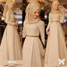 Flavia Store Maxi Dress Lengan Panjang Set 3 in 1 FS0015 - COKLAT MOCCA / Gamis Syari / Gaun Pesta Muslimah / Baju Muslim Wanita Syar'i / Hijab / Srzamirah