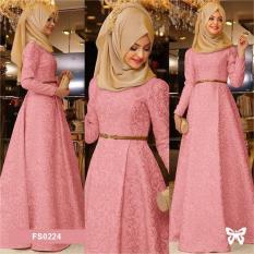 Flavia Store Maxi Dress Lengan Panjang Set 3 in 1 FS0224 - PEACH / Gamis / Gaun Pesta Muslimah / Baju Muslim Wanita / Hijab / Srzamirah