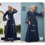 Harga Flavia Store Maxi Dress Lengan Panjang Terompet Bordir Fs0711 Navy Biru Dongker Gamis Syari Gaun Pesta Muslimah Baju Muslim Wanita Syar I Srmadina Fullset Murah