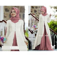 Flavia Store Maxi Dress Set 2 in 1 FS0160 - PUTIH / Gamis Syari / Gaun Pesta Muslimah / Baju Muslim Wanita Syar'i / Hijab / Srcaroline