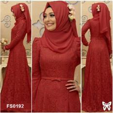 Flavia Store Maxi Dress Lengan Panjang Set 3 in 1 Brukat FS0192 - MERAH MARUN / Gamis Syari / Gaun Pesta Muslimah / Baju Muslim Wanita Syar'i / Hijab / Srsabrina