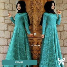 Flavia Store Maxi Dress Lengan Panjang Set 2 in 1 Brukat FS0499 - TOSCA / Gamis Syari / Gaun Pesta Muslimah / Baju Muslim Wanita Syar'i / Hijab / Srzafana