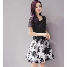 Flavia Store Dress Lengan Pendek Brukat FS0214 - HITAM / Gaun Pesta / Rnflowerbrukat