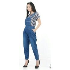 Jual Flavia Store Overall Jeans Wanita Joger Fs0476 Biru Tua Celana Jumpsuit Baju Kodok Jamsuit Rnjeanspoket Flavia Store Grosir