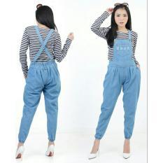 Flavia Store Overall Jeans Wanita Joger FS0619 - BIRU MUDA / Celana Jumpsuit / Baju Kodok / Jamsuit / Rnjeanspoket