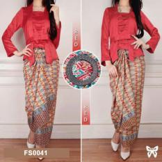 Flavia Store Setelan Kebaya Kutu Baru Modern Batik FS0041 - MERAH / Stelan Baju Pesta Kutubaru Wanita / Sratika