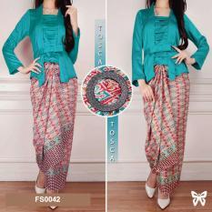Flavia Store Setelan Kebaya Kutu Baru Modern Batik FS0042 - HIJAU TOSCA / Stelan Baju Pesta Kutubaru Wanita / Sratika