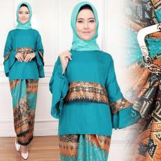 Flavia Store Setelan Kebaya Modern Batik FS0717 - TOSCA / Stelan Muslimah / Baju Pesta Muslim Wanita / Atasan Blouse Kemeja Terompet Bawahan Rok Lilit / Tzvinoti