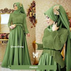 Flavia Store Maxi Dress Lengan Panjang Set 2 in 1 FS0491 - ARMY HIJAU / Gamis Syari / Gaun Pesta Muslimah / Baju Muslim Wanita Syar'i / Hijab / Sryolanda