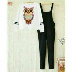 Flavia Store Setelan Overall Wanita FS0514 - HITAM PUTIH / Stelan Bawahan Jumpsuit Atasan Kaos TShirt Lengan Panjang / Celana Jamsuit / Baju Kodok / Rnowl