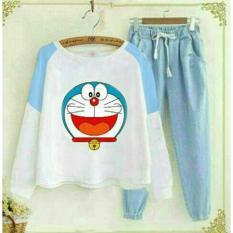 Flavia Store Setelan Wanita Kartun Doraemon Smile FS0179 - PUTIH BIRU / Stelan Atasan Baju Kaos TShirt Lengan Panjang Bawahan Celana Joger / Rndorasmile