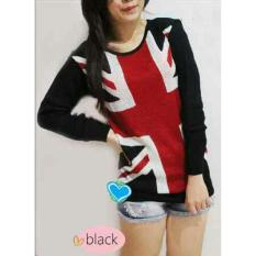 Flavia Store Sweater Wanita Rajut Bendera Inggris FS0180 - HITAM / Baju Hangat / Kaos TShirt Lengan Panjang / Atasan / Switer / Rnengland
