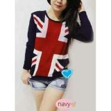 Harga Flavia Store Sweater Wanita Rajut Bendera Inggris Fs0181 Navy Biru Dongker Baju Hangat Kaos Tshirt Lengan Panjang Atasan Switer Rnengland Asli